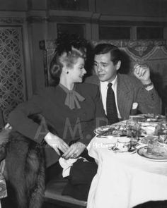 Lucille Ball and Desi Arnaz at the 1942 (15th) Academy Awards banquet