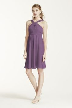 Classic silhouette with a modern twist, this bridesmaid dressis ultimatelyflattering for any affair!  Sleeveless crinkle chiffon bodice features y-neckline.  Pleated waist band helps define the silhouette.  Fully lined. Back zip. Imported polyester. Dry clean.  To protect your dress, try our Non Woven Garment Bag. Also available in extra length as Style 2XLF15600.