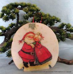 Sand Dollar Ornament Mr and Mrs Santa by CarmelasCoastalCraft, $15.00