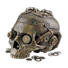 Steampunk Skull Storage Vessel