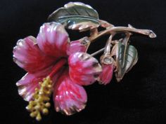 Coro Pink Enamel and Rhinestone Hibiscus Flower Pin-Brooch from vintagejewelrylounge on Ruby Lane