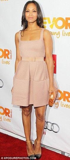 Zoe Saldana in brilliant beige -- the texture is divine!