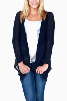 Navy Blue Knit Hooded Cardigan... more colors