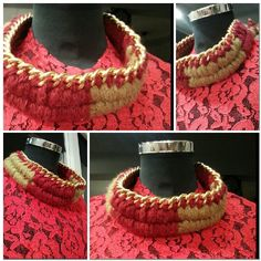 Wool braid mecklace burgundy and olive colour