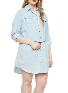 Rainbow Plus Size Light Wash Denim Shirt Dress With Woven Belt And Roll Tab Convertible Sleeves Plus Size Dresses, Cute Dresses, Rainbow Shop, Woven Belt, Denim Shirt Dress, Everyday Dresses, Convertible, Latest Trends, Fashion Dresses
