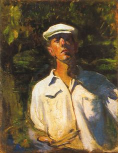 Self-Portrait in the Sunshine, by Karoly Ferenczy (Austrian: Budapest, Hats For Men, Impressionism, Sunshine, Portraits, Vienna, Austria, Smoking, Studios