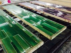 Work in progress: liquid color coating on exclusive stepwood!