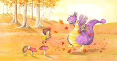 """One of 12 spreads of the picture book """"Dragon Donatius thinks it's cold"""" published by Clavis Publishing. written by Li Lefébure, illustrated by me:)."""