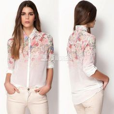 2014 y dulce primavera descubierta cuello manga larga flor otoño femenina imprimir camisa de gasa blusa mujer S/M/L/XL
