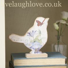 Floral Wooden Bird on Stand