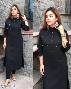 Checkout this latest Kurta Sets Product Name: *Women's Black Cotton Kurta Set with Pants* Fabric: Kurti - Cotton Bottom - Cotton Sleeves: Sleeves Are Included Size: Kurti - 38 in 40 in 42 in 44 in  Bottom -  30 in 32 in 34 in 36 in Length: Kurti - Up To 46 in Bottom - Up To 40 in Type: Stitched Description: It Has 1 Piece Of Kurti And 1 Piece Of Bottom Pattern: Kurti - Solid Palazzo - Solid Country of Origin: India Easy Returns Available In Case Of Any Issue   Catalog Rating: ★4.1 (2388)  Catalog Name: Women Cotton A-line Striped Long Kurti With Palazzos CatalogID_500565 C74-SC1003 Code: 024-3590498-2601