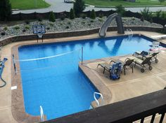 L Shaped Vinyl Liner Swimming Pool With Custom Sun Deck