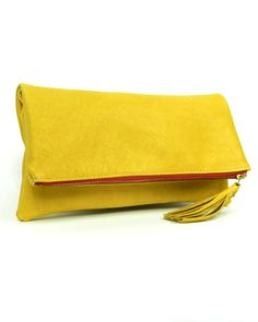 Golden Yellow Fold Over Clutch with Red Zipper by kslademade, $72.00