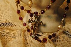vintage pearl and ruby red glass rosary by lettuceTURNIPtheBEET, $36.00