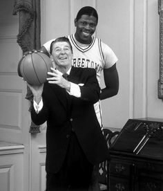 Happy birthday to Patrick Ewing. The Georgetown alum played 17 NBA seasons, mostly for the Knicks, and averaged 21 points and rebounds per game. In this photo, Ewing poses with then-president. Basketball Legends, Love And Basketball, Sports Basketball, College Basketball, Basketball Players, Ralph Sampson, Georgetown Hoyas, Patrick Ewing, President Ronald Reagan