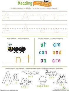 These preschool reading worksheets will get your little one ready for kindergarten. Help your kid get a leg up on reading with our preschool reading printables. Learning Time, Preschool Activities, Kids Learning, Preschool Worksheets, Reading Worksheets, Preschool Alphabet, Learning Letters, Alphabet Activities, Alphabet Worksheets