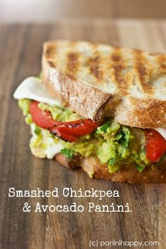 Smashed Chickpea and Avocado Panini via @Kathy Strahs | Panini Happy // This is definitely one of those vegetarian sandwiches where you hardly miss not having meat. #panini #sandwich #recipe