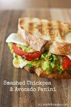 Smashed Chickpea and Avocado Panini | paninihappy.com