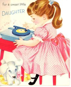 Vintage Norcross Greeting Card Girl Playing A Record Die Cut 3237