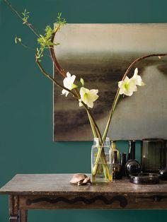 """""""Matte verven en lakken geven een warmer effect. Bovendien maakt het de kleuren dieper en haast aaibaar. Alsof je fluweel op je muren hebt."""""""