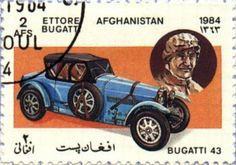 Bugatti Type 43, 1926 by Ettore Bugatti. Afghanistan Post stamp 1984