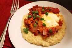 Salsa Poached Eggs with Cheese Grits