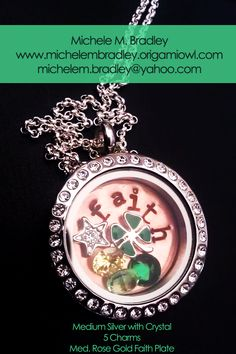 Origami Owl  Med. Silver Locket with Crystals