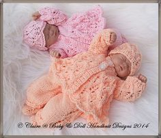 Baby and Doll Hand Knit Designs for Sale Knitting Dolls Clothes, Knitted Baby Clothes, Baby Doll Clothes, Baby Hats Knitting, Knitted Dolls, Doll Clothes Patterns, Doll Patterns, Hand Knitting, Baby Dolls