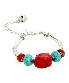 Loving this Blue & Red Howlite Five-Bead Bracelet on #zulily! #zulilyfinds