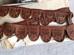 Antique French Tape, Art Deco Leatherette Embroidered Trim,  Period Costume. Flapper Art Deco. Pre Raphaelite, 2 ys Rare Braid by BrocanteArt on Etsy