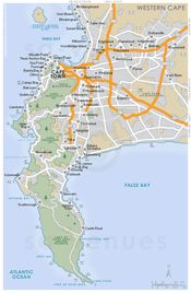 Cape Peninsula basic street map showing main roads and the location of attractions in and around Cape Peninsula, Western Cape . South Africa Map, Visit South Africa, Travel Advice, Travel Guide, Africa Travel, Cape Town, Where To Go, The Good Place, Places To Go