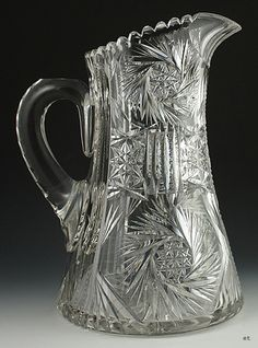 Classical 1890s American Brilliant Cut Glass Heavy Large Pitcher