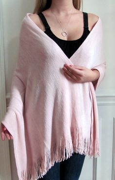 Soft pink cashmere shawls make unique gifts for weddings birthdays Holiday gifts at $44.99