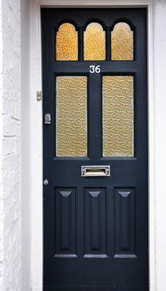 Edwardian front door in Railings, Farrow & Ball