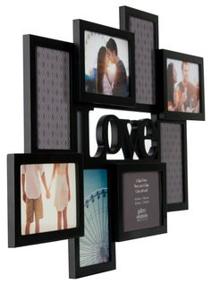 """Features:  -Gallery Solutions collection.  -Frame material: Wood.  -8 Openings.  Style: -Modern.  Color: -Black.  Material: -Wood.  Picture Size: -4"""" x 6"""".  Picture Capacity: -7+.  Frame Type: -Collag"""