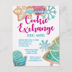 Merry Christmas | Watercolor Cookie Exchange Holiday Postcard - tap to personalize and get yours #HolidayPostcard  #christmascookieswap #exchange #bake #baking #share Christmas Photo Cards, Holiday Cards, Christmas Cards, Merry Christmas, Cookie Exchange Party, Christmas Planning, Holiday Postcards, Christmas Cookies, Watercolor