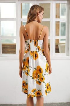 40a9366e14619a Strap v neck summer dress women Sunflower print backless party dress Casual  vestidos high waist midi. Ezza Fashion