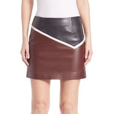 Sonia by Sonia Rykiel Colorblock Leather Skirt (£470) ❤ liked on Polyvore featuring skirts, apparel & accessories, long skirts, color block skirt, real leather skirt, long leather skirt and block print skirts