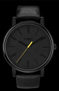 (@ Timex) // Product Code: T2N793AW. All black with yellow second hand.