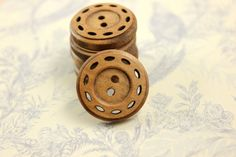 Special Wooden Buttons  10 pieces of Thread Wheel by Lyanwood, $6.00