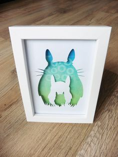 Framed Totoro hand cut silhouette design by UndiscoveredSuburb