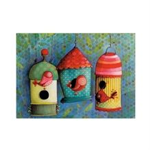 Carte de souhaits Ketto - Maisons d'oiseaux / Ketto's greeting card - Bird houses www.kettodesign.com
