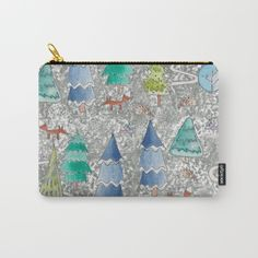 Watercolour winter forest carry all pouch $14.00 Organize your life with our Carry-All Pouches. Available in three sizes with wraparound artwork, these pouches are perfect for toiletries, art supplies or makeup. Even an iPad fits into the large size. Features include a faux leather pulltab for easy open and close, a durable canvas-like exterior and a 50/50 poly-cotton black interior lining. Machine washable.