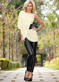 One sleeve belted top, legging, cut out heel