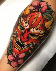 Japan Tattoo Design, Sketch Tattoo Design, Tattoo Sketches, Tattoo Drawings, Japanese Tattoo Symbols, Japanese Tattoo Designs, Japanese Tattoo Art, Japanese Demon Mask Tattoo, Hannya Maske Tattoo