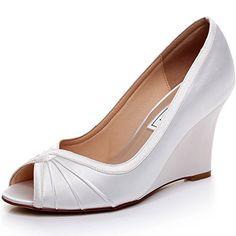 38bce724018d satin womens sandals strap sandals Comfortable silver wedding sandals  Unique Design Wedge Shoes for Wedding Bride Closed Toe Wedges for Women