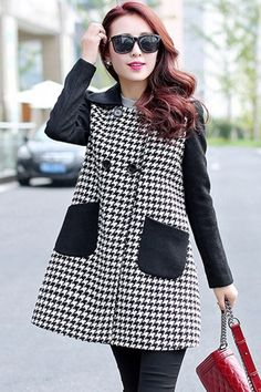 Classic Houndstooth Double-Breasted Trench Coat