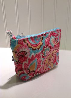 Quilted pink and aqua makeup bag by PhoebeMade on Etsy, $15.00