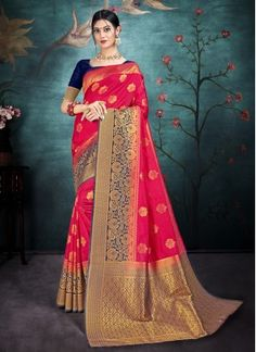 Pretty Pink Weaving Silk Traditional Saree Banarasi Lehenga, Silk Sarees, Pink Fabric, Pink Silk, Net Saree, Designer Sarees Online, Traditional Sarees, Blouse Online, How To Dye Fabric