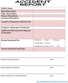 Free Daycare Forms And Sample Documents  Medical Daycare Ideas